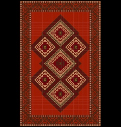 Vintage luxurious ethnic red rug with vector