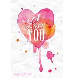 Watercolor Valentines Day Heart lettering vector image vector image