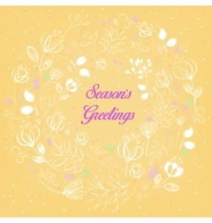 White floral ring season greetings vector