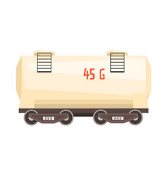 White railroad tank wagon colorful cartoon vector