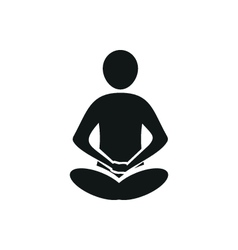 Yoga meditation simple black icon on white vector image vector image