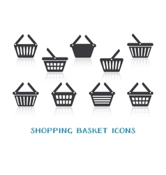 Shopping basket icons with reflection vector image