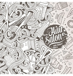 Cartoon cute doodles Hair salon frame design vector image