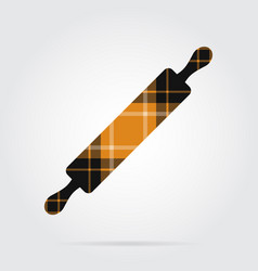 orange black tartan isolated icon - rolling pin vector image