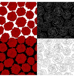 Set of seamless backgrounds the outline of a rose vector