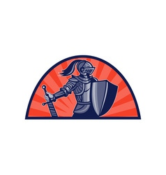 Knight with sword and shield facing side vector