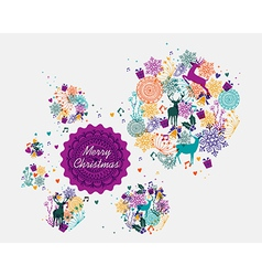 Merry christmas colorful postcard vector