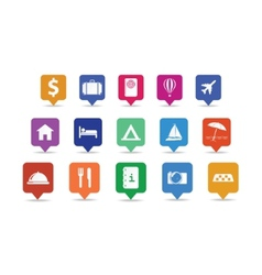 Travel icon pins set vector