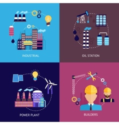 Industrial flat set vector