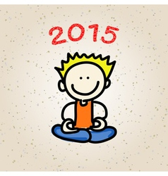 Cartoon happy people meditation vector