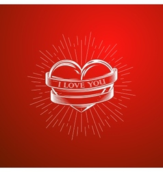With engraving heart ribbon vector