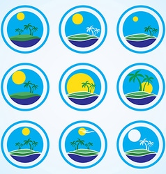 Palm trees and sun beach resort logo design vector