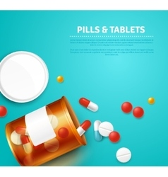 Pills bottle realistic vector