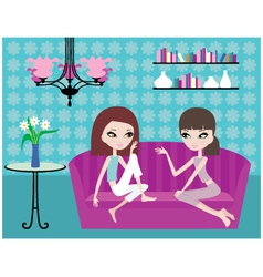 Girls talk on sofa vector