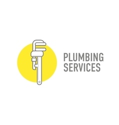 Plumbing repair wrench line flat icon logo vector