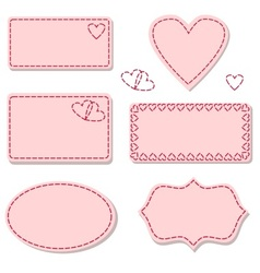Labels pink with sewing stitches vector