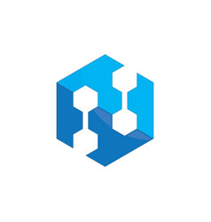 abstract hexagon logo image vector image