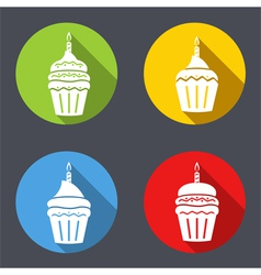 Birthday Cupcakes Icons vector image