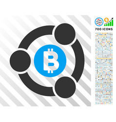 Bitcoin collaboration flat icon with bonus vector