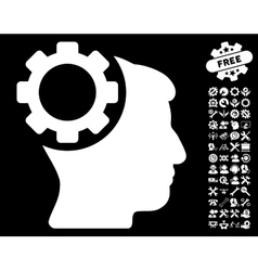 Brain Gear Icon with Tools Bonus vector image