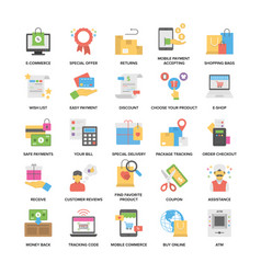 Colorful flat icons set of shopping and commerce vector