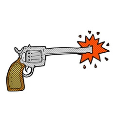 Comic cartoon firing gun vector
