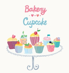 Cupcakes and bakery funny card vector image