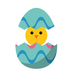 Cute easter egg chicken vector