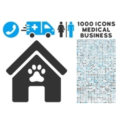 Doghouse icon with 1000 medical business symbols vector