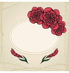 Doodling greeting card with flowers in tattoo vector image