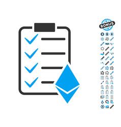 Ethereum smart contract icon with bonus symbols vector