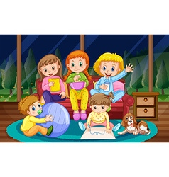 Girls and boy in pyjamas at night vector