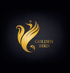 Golden phoenix bird brand animal logo luxury vector