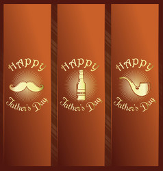 Greeting card set for fathers day celebration vector