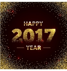 Happy new year 2017 shiny greeting card made of vector