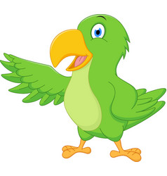 Happy parrot cartoon presenting vector