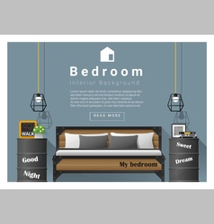 Interior design bedroom background 6 vector image vector image