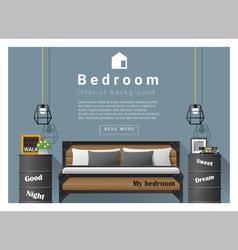 Interior design bedroom background 6 vector image vector image