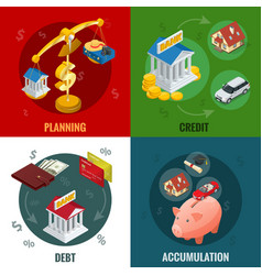 Isometric business and finance icons flat 3d vector