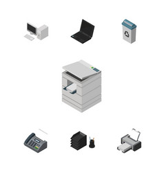 Isometric cabinet set of garbage container office vector