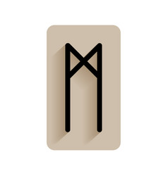 Mannaz runic alphabet and letters flat icon on vector