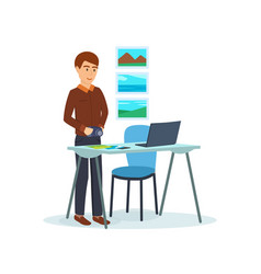 men working on his laptop create photos vector image vector image
