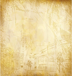old paper with a painted town vector image vector image