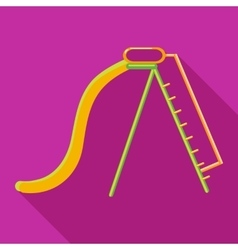 Playground yellow slide icon flat style vector
