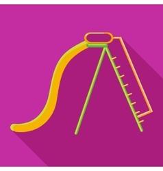 Playground yellow slide icon flat style vector image