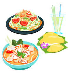 Popular thai food papaya salad set vector