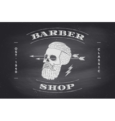 Poster of barber shop label on black chalkboard vector