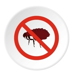 Prohibition sign fleas icon flat style vector