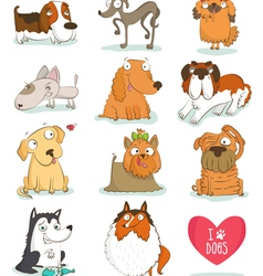 Set of cute dog characters vector image vector image