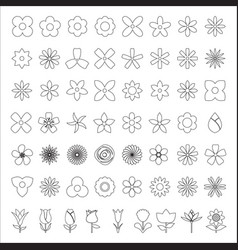 set of flower line icon vector image